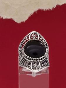 Сребърен пръстен филигран -Оникс FRK123