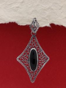 Медальон от сребро филигран - Оникс FPK123