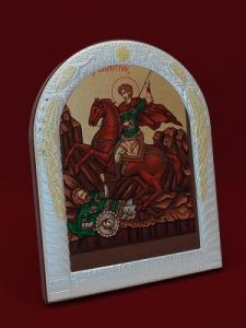 Сребърна икона Свети Димитър - 501072