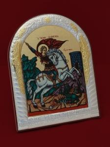 Сребърна икона Свети Георги - 501046