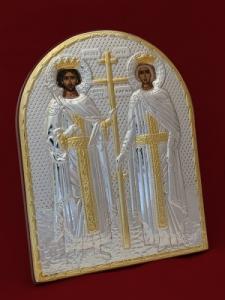 Сребърна икона Свети Константин и Елена - 501142