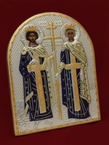 Сребърна икона Свети Константин и Елена - 501130