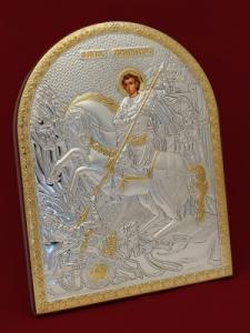 Сребърна икона Свети Димитър - 501113