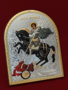 Сребърна икона Свети Димитър - 501116