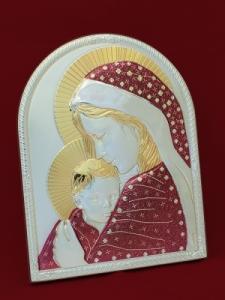 Икона от сребро на Мадона с Младенеца - 501131