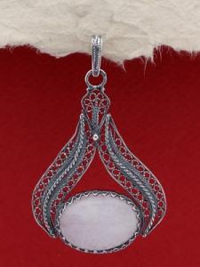 Сребърен филигранен медальон  - FPK131 - Млечен кварц