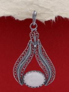 Сребърни филигранен медальон FPK131 - Млечен кварц