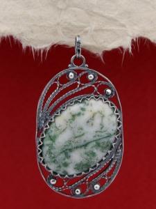 Филигранен медальон от сребро  - FPK101 - Дендрит ахат