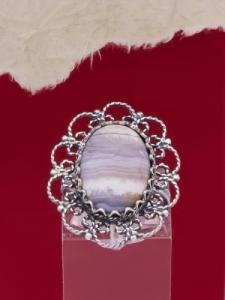 Филигранен пръстен от сребро FRK91 - Ивичест ахат
