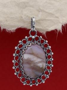 Филигранен медальон от сребро - FPK74 - Ивичест ахат