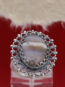 Сребърен филигранен пръстен - FRK74 - Ивичест ахат