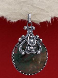 Медальон от сребро филигран FPK162 - Мъхов ахат