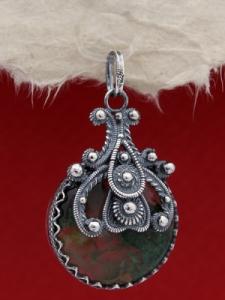 Сребърен филигранен медальон FPK162 - Mъхов ахат