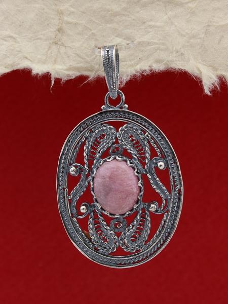Сребърен медальон FPK97 - Родонит