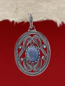 Сребърен медальон FPK97 - Син кварц