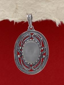 Медальон от сребърен филигран FPK97 - Лунен ахат