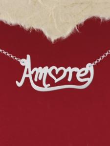 """Сребърно колие с надпис """"Amore2"""""""