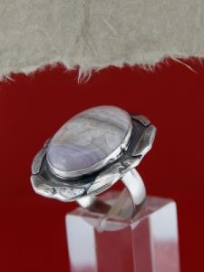 Сребърен пръстен RKWS10 - Ивичест ахат