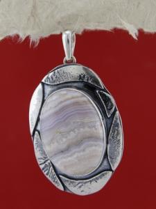 Сребърен медальон PKWS10 - Ивичест ахат