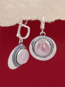 Сребърни обеци EKWS12 - Розов кварц