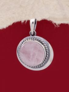 Сребърен медальон PKWS12 - Розов кварц