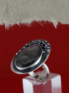 Сребърен пръстен RKWS25 - Сребрист обсидиан