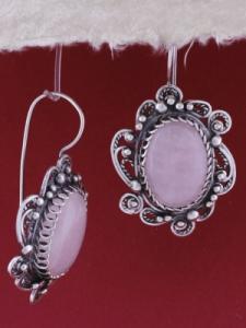 Сребърни обеци филигран STE113 - Розов кварц