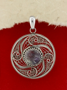 Сребърен медальон филигран STP142 - Аметист