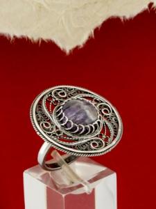 Сребърен пръстен филигран STR142 - Аметист