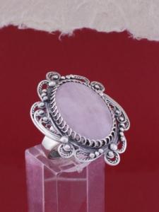 Сребърен пръстен филигран STR113 - Розов кварц
