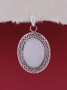 Сребърен медальон филигран STP136- Бял авантюрин