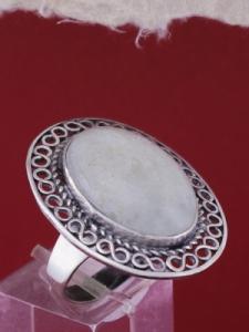 Сребърен пръстен филигран STR136 - Бял авантюрин