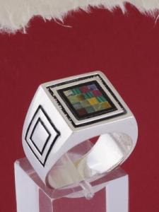 Мъжки сребърен пръстен R022t