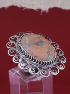 Филигранен пръстен от сребро STR109 - Брекча яспис