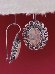 Сребърни обеци филигран - STE109 - Брекча яспис