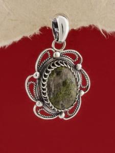 Сребърен филигранен медальон - STP112 - Кварц Епидот