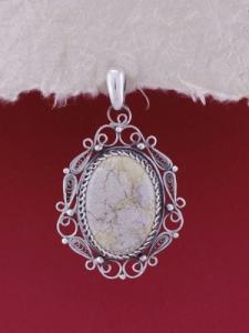 Сребърен филигранен медальон - STP115A - Вогесит