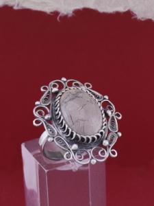 Филигранен пръстен от сребро STR115A - Вогесит