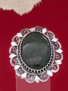 Филигранен пръстен от сребро STR119 - Тъмно зелен Авантюрин