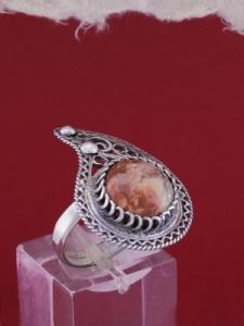 Филигранен пръстен от сребро STR130 - Брекча Яспис