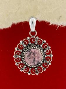 Сребърен филигранен медальон - STP138 - Родонит