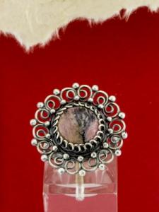 Филигранен пръстен от сребро STR138 - Родонит