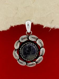 Сребърен филигранен медальон - STP139 - Дюмортиерит
