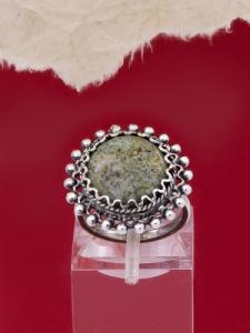 Филигранен пръстен от сребро STR143 - Зелен мъхов ахат