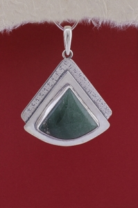 Сребърен медальон - PKWS19 - Авантюрин