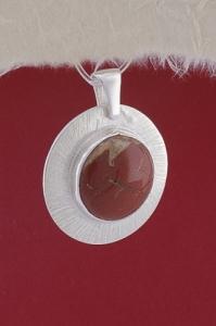 Сребърен медальон PKWS27A - Червен яспис