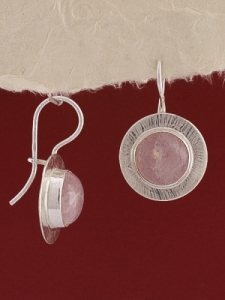Сребърни обеци EKWS27A - Розов кварц