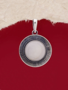Сребърен медальон PKWS27 - Бял Авантюрин