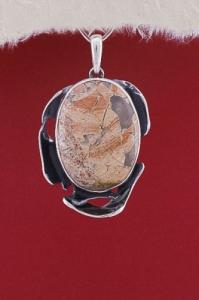 Сребърен медальон PKWS29 - Брекча яспис