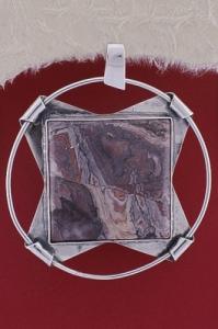 Сребърен медальон PKWS30 - Мокаит